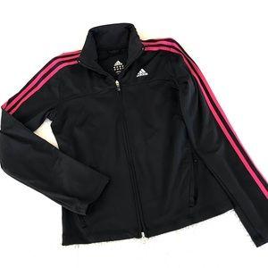 ADIDAS Black and Pink 3 Stripe Track Jacket S